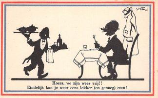 Ansichtkaart Bevrijding WO2 1945 Hoera, we zijn weer vrij!! Illustrator Steen Fantasie HC10971