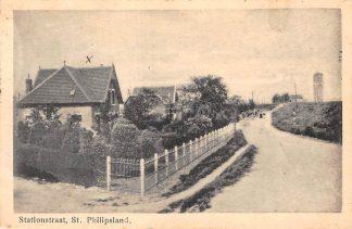 Ansichtkaart Sint Philipsland Stationstraat met watertoren Tholen HC10977