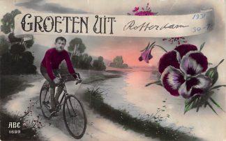 Ansichtkaart Rotterdam Groeten uit 1931 met wielrenner HC10987