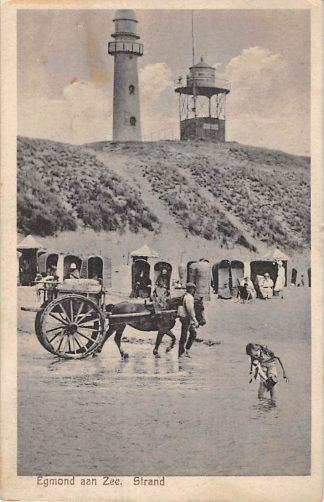 Ansichtkaart Egmond aan Zee Strand met paard en wagen Vuurtoren en seintoestel in de duinen 1930 HC10989