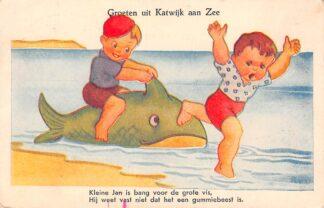 Ansichtkaart Katwijk aan Zee Groeten uit 1946 Kleine Jan is bang …. Fantasie Humor HC11002