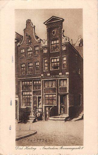 Ansichtkaart Amsterdam Brouwersgracht II Illustrator Dirk Harting 1928 HC11016