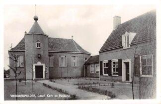 Ansichtkaart Vrouwenpolder Gereformeerde Kerk en Pastorie HC11032