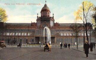 Ansichtkaart Amsterdam Paleis voor Volksvlijt met hondenkar HC11038