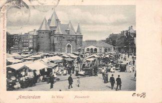 Ansichtkaart Amsterdam De Waag Nieuwmarkt Markt dag met volk 1904 HC11041