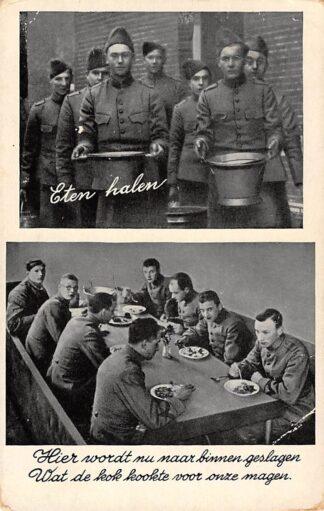 Ansichtkaart Militair Mobilisatie 1939 WO2 Eten halen Soldaten aan de maaltijd HC11063