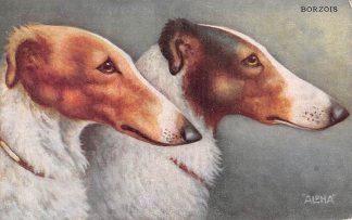 Ansichtkaart Fantasie Borzois Honden Illustrator ALPHA HC11146