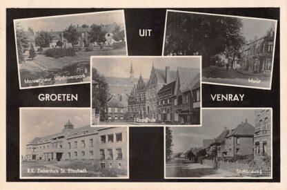 Ansichtkaart Venray Groeten uit 1943 Monseigneur Wijnhovenpark Markt Raadhuis R.K. Ziekenhuis en Stationsweg HC11161