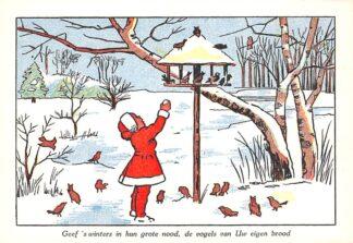 Ansichtkaart Den Haag Geef 's winters in hun grote nood, de vogels van Uw eigen brood Nederlandsche Vereeniging tot bescherming van dieren Fantasie HC11181