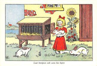 Ansichtkaart Den Haag Laat konijnen ook eens los lopen Nederlandsche Vereeniging tot bescherming van dieren Fantasie HC11184