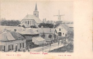 Ansichtkaart Ingen Dorpsgezicht met Kerk en Molen voor 1906 Buren (GD) Betuwe HC11277