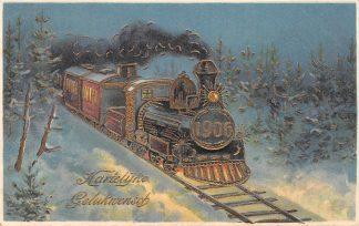 Ansichtkaart Fantasie Gelukwensch voor 1906 Trein met 1906 op de voorkant Reliëfkaart met goudopdruk HC11295