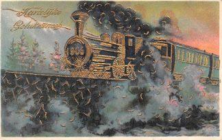 Ansichtkaart Fantasie Gelukwensch voor 1906 Trein met 1906 op voorkant Reliëfkaart met goudopdruk  HC11296
