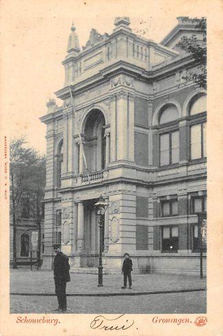 Ansichtkaart Groningen Schouwburg 1901 Kleinrondstempel Onderdam 1901 Filatelie HC11303