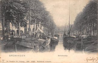 Ansichtkaart Groningen Schuitendiep Binnenvaart schepen Scheepvaart 1903 Kleinrondstempel Bedum en Haren 1903 Filatelie HC11308