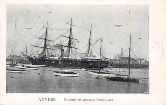 Ansichtkaart België Anvers Antwerpen Navire de Guerre Americain Oologsschip USA Noord-Amerika Kleinrondstempel Soest 1903 Scheepvaart Filatelie Europa HC11317