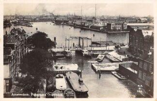 Ansichtkaart Amsterdam Panorama Oosterdok Binnenvaart schepen Scheepvaart 1931 HC11356