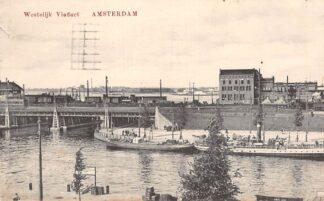Ansichtkaart Amsterdam Westelijk Viaduct Treinen Spoorwegen van Vollenhovens Bieren Binnenvaart schepen Scheepvaart 1919 HC11379