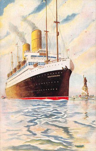 Ansichtkaart Scheepvaart Hamburg American Line Stoomschip S.S. Deutschland in New York Duitsland Schepen Europa HC11396