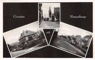 Ansichtkaart Nieuwkoop Groeten uit 1950 Dorpstraat Bruggenbuurt Zuideinde HC11444