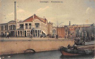 Ansichtkaart Groningen Noorderhaven Coöp. Zuivelfabriek Stad en Land 1918 Binnenvaart schepen scheepvaart HC11476