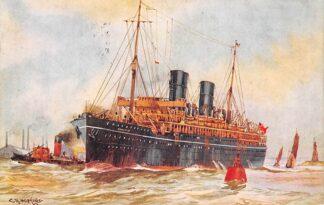 Ansichtkaart Engeland R.M.S. Mooltan P. & O. Line Scheepvaart Zee schepen Illustrator C.R. Hopkins England Europa HC11482