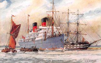 Ansichtkaart Engeland Off Greenhithe Zee schepen Scheepvaart Illustrator C.R. Hopkins England Europa HC11483