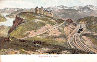 Ansichtkaart Zwitserland Vitznau - Rigi - Bahn Rigi - Kulm u.d. Alpen Spoorwegen Railways Suisse Switzerland Schweiz Europa HC11589