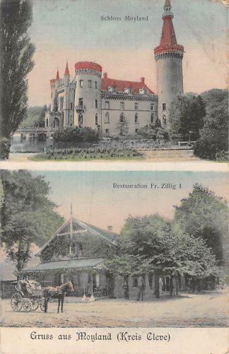 Ansichtkaart Duitsland Moyland Kreis Cleve Schloss Moyland Restauration Fr. Zillig I Paard en wagen Deutschland Europa HC11631