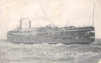 Ansichtkaart USA Amerika Excursion on City of Chicago from St. Joseph Michigan 1907 Noord-Amerika Scheepvaart HC11641