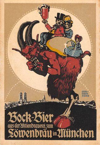 Ansichtkaart Duitsland München Brauerei Lowenbrau Bock Bier Reclame Illustrator Otto Obermeier Deutschland Europa HC11647