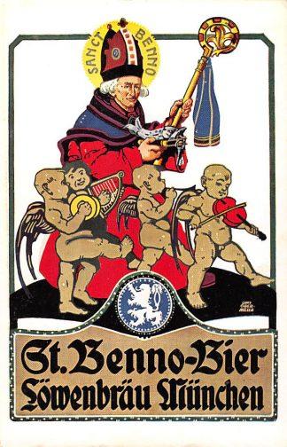 Ansichtkaart Duitsland München Brauerei Lowenbrau St. Benno Bier Reclame Illustrator Otto Obermeier Deutschland Europa HC11649