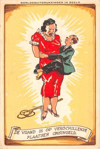 Ansichtkaart Militair Mobilisatie 1939 Oorlogsuitdrukkingen in beeld De Vijand is op verschillende plaatsen omsingeld HC11656