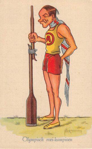 Ansichtkaart Sport Roeien Olympisch roei-kampioen Serie Grootheden uit de Sportwereld Illustrator Broekman Humor Cartoon HC11685