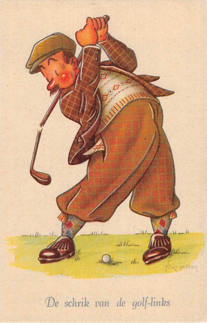 Ansichtkaart Sport Golf De schrik van de golf-links Serie Grootheden uit de Sportwereld Illustrator Broekman Humor Cartoon HC11688