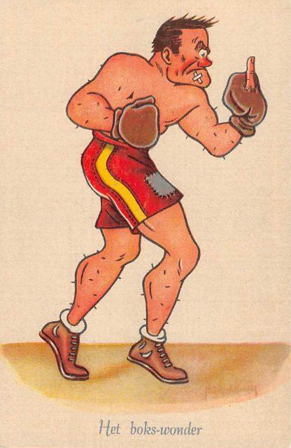 Ansichtkaart Sport Boksen Het boks-wonder Serie Grootheden uit de Sportwereld Illustrator Broekman Humor Cartoon HC11689