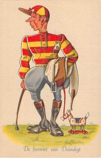 Ansichtkaart Sport Paardrijden De favoriet van Duindigt Serie Grootheden uit de Sportwereld Illustrator Broekman Humor Cartoon HC11690