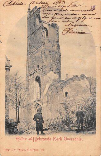 Ansichtkaart Rotterdam Overschie Ruïne afgebrande Kerk 1903 Vlieger No. 125 HC11750