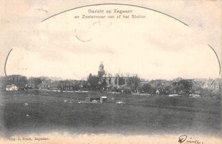 Ansichtkaart Zoetermeer Gezicht op Zegwaart en Zoetermeer van af het Station Kleinrondstempel 1903 HC11764
