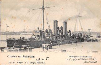 Ansichtkaart Rotterdam Oostenrijksche Oorlogsbodem 1903 Vlieger No. 342 Marine Schepen Oostenrijk Kriegsschiff Osterreich Austria Europa HC11909
