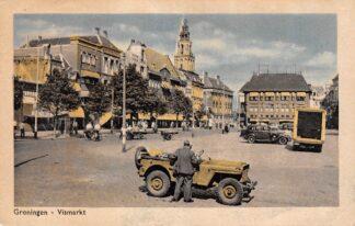 Ansichtkaart Groningen Vismarkt met Jeep Militair Auto HC11929