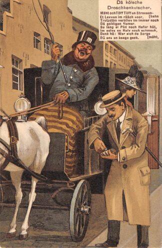 Ansichtkaart Duitsland Koln 1912 Da kolsche Droschkenkutscher Humor Fantasie Deutschland Europa HC11987