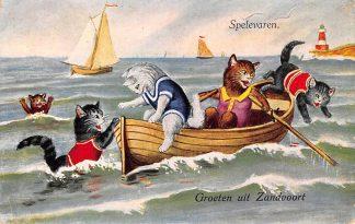 Ansichtkaart Zandvoort Groeten uit 1930 Spelevaren HC12028