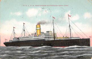 Ansichtkaart Rotterdam Holland America Line H.A.L. S.S. Nieuw Amsterdam Amsterdam-Rotterdam-New York 1915 Scheepvaart Schepen HC12100