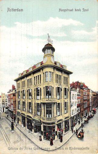 Ansichtkaart Rotterdam Hoogstraat hoek Spui Reclame Gebouw der Firma Gebr. Lampe Dames- en Herenconfectie 1911 HC12190