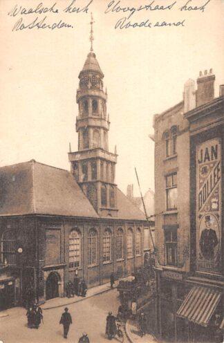 Ansichtkaart Rotterdam Hoogstraat hoek Roode Zand Waalsche Kerk 1922 HC12194