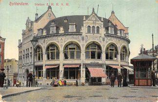 Ansichtkaart Rotterdam Station Z.H.E.S.M. Spoorwegen Café Restaurant Loos Wachthuisje tram RETM 1913 HC12237