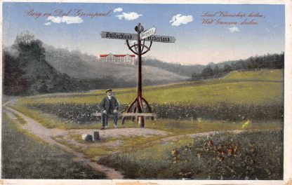 Ansichtkaart Berg en Dal Grenspaal Nederland - Duitsland Laat vriendschap heelen Wat grenzen deelen 1920 HC12399