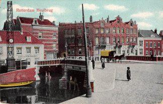Ansichtkaart Rotterdam Heulbrug over de Schie tussen Bergweg en Walenburgerweg Café de Koophandel 1912 HC12402
