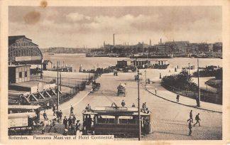 Ansichtkaart Rotterdam Panorama Maas van af Hotel Continental 1918 RETM Tram Maas Station HC12509